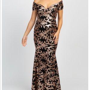 Black sequin off the shoulder maternity dress